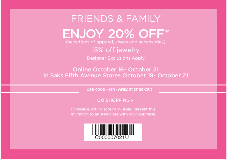 friends and family coupon for saks