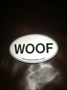 woof sticker for car